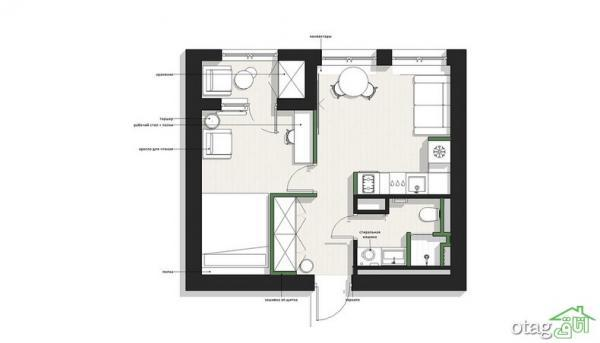 دکوراسیون منزل چهل متری تک خوابه همراه با پلان کف سازی