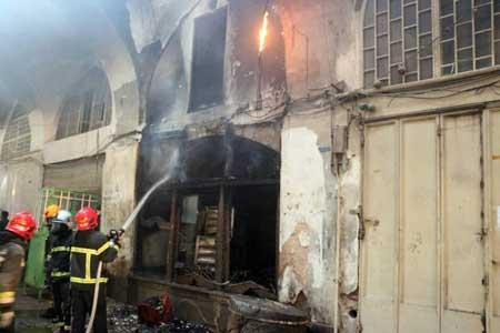 آتش سوزی در بازار فرش فروش های اصفهان
